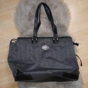 Reba Gray Fabric & Black Leather Travel Bag